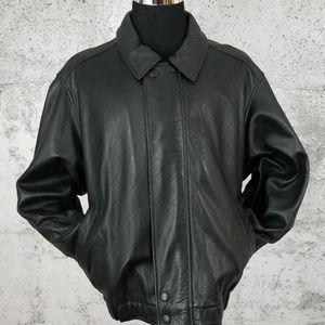 EDDIE BAUER Leather Bomber Jacket XXL Black